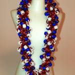Red, White and Blue Shaggy Loops Beaded Bracelet